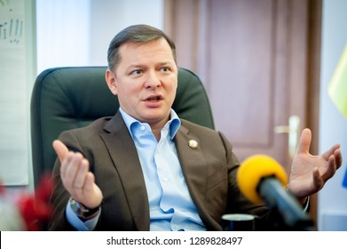 KIEV, UKRAINE - January 16, 2019: leader of the Radical Party Deputy of the Verkhovna Rada Oleg Lyashko with flag on backgroung. presiden candidate