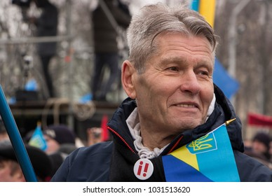 Kiev, Ukraine - January 18th: Protesting at the rally for President Petro Poroshenko's resignation