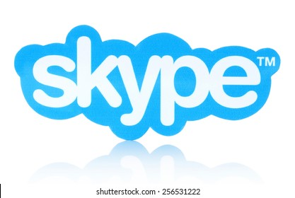 KIEV, UKRAINE - JANUARY 19, 2015: Skype logotype printed on paper and placed on white background. Skype is a telecommunications application software developed by Microsoft.