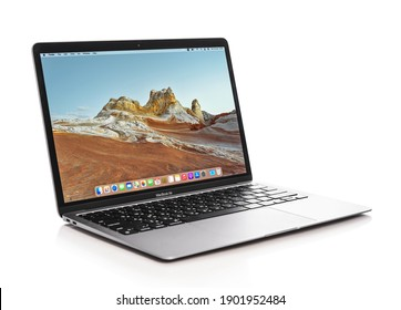 KIEV, UKRAINE - JANUARY 19, 2021:  Brand new, 13-inch Apple MacBook Air Late with new M1 Apple Silicon processor designed and developed by Apple Inc., it was released on November 17, 2020