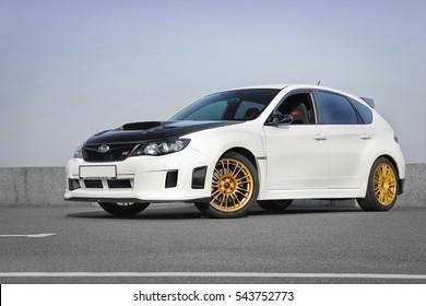 Kiev, Ukraine; January 20, 2014. Subaru Impreza WRX STI. Editorial photo.