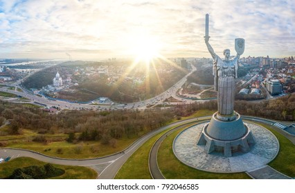 Kiev, Ukraine - January, 2018: Mother Motherland monument in Kiev. Historical sights of Ukraine.