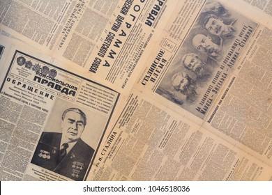 Kiev, Ukraine - January 2018: Selection of Soviet Newspapers with photos of Soviet leaders