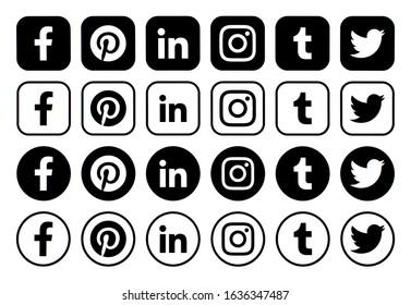 Kiev, Ukraine - January 21, 2020: Popular social media black icons pointers printed on paper: Facebook, Twitter, Instagram, Pinterest, LinkedIn, Viber, Tumblr and others