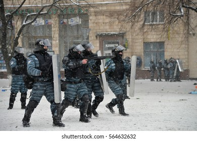 "Kiev, Ukraine, January 22, 2014: A special unit of the government police ""Berkut"" involved in clashes with protesters against the President Yanukovych. Kiev, str. Grushevskogo,  January 22, 2014"