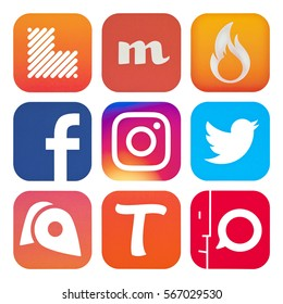 Kiev, Ukraine - January 22, 2017: Set of popular social media icons printed on white paper: Facebook, Twitter,  Instagram, Tango, Blend-Genie Group Mess, Opinion, CircleMe, Knit, Learnist.