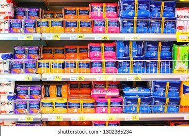 Kiev, Ukraine - January 22, 2019. Always, a famous hygiene products on shelves in the Auchan store. Always is a famous brand of a feminine goods manufacturer.