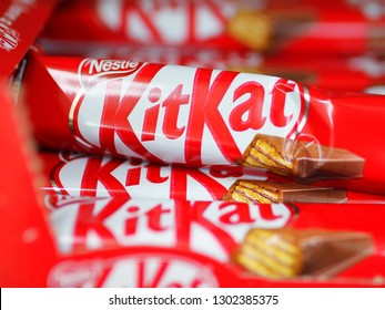 Kiev, Ukraine - January 22, 2019. Kit Kat, a famous chocolate bar on shelves in the Auchan store. Kit Kat is a famous brand of chocolates.