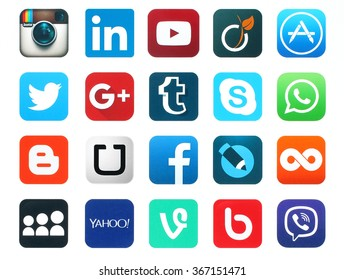 Kiev, Ukraine - January 23, 2016: Popular social media icons such as: Facebook, Twitter, Blogger, Linkedin, Tumblr, Myspace and others, printed on white paper.