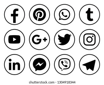 KIEV, UKRAINE -   January 23, 2019: This is a photo collection of popular social media logos printed on paper: Facebook, Twitter, LinkedIn, Pinterest, Instagram, Youtube, Line and other