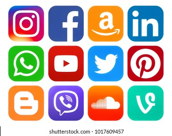 Kiev, Ukraine - January 24, 2018: Rounded icons of social media printed on paper: Pinterest, Twitter, Instagram, Facebook, LinkedIn, Viber, Amazon, WhatsApp, Youtube