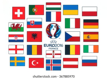 Kiev, Ukraine - January 26, 2016: Official logo of the 2016 UEFA European Championship in France with flags of the countries participants printed on white paper