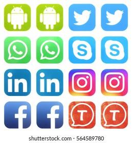 KIEV, UKRAINE - JANUARY 26, 2017: Collection of popular social media logos printed on paper: Facebook, Twitter, LinkedIn, Instagram, Tango, Skype, WhatsApp and Android