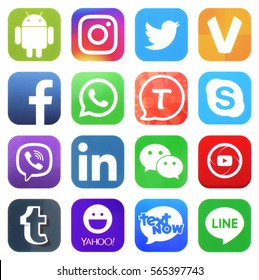 KIEV, UKRAINE - JANUARY 27, 2017: Collection of popular social media logos printed on paper: Facebook, Twitter, LinkedIn, Instagram, Tango, WhatsApp, Youtube, Line and other