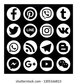 KIEV, UKRAINE -   January 28, 2019: This is a photo collection of popular social media logos printed on paper: Facebook, Twitter, LinkedIn, Pinterest, Instagram, Youtube, Line and other