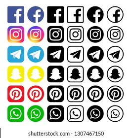 Kiev, Ukraine - January 28, 2019: Set of popular social media icons printed on white paper: Facebook, Instagram, Telegram, Snapchat, Pinterest, WhatsApp.