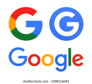 Kiev, Ukraine -  January 28, 2019; Collection of Google logos printed on white paper. Google is USA multinational corporation.