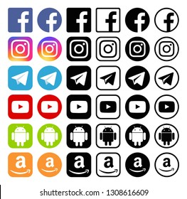 Kiev, Ukraine - January 28, 2019: Set of popular social media icons printed on white paper: Facebook, Instagram, Telegram, YouTube, Android, Amazon.