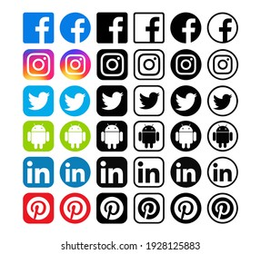 Kiev, Ukraine - January 28, 2020: Set of popular social media icons printed on white paper: Facebook, Instagram, Twitter, Android, LinkedIn, Pinterest.