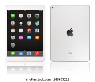 KIEV, UKRAINE - JANUARY 29, 2015: Brand new white Apple iPad Air 2, 6th generation of the iPad, developed by Apple inc. and was released on October 16, 2014
