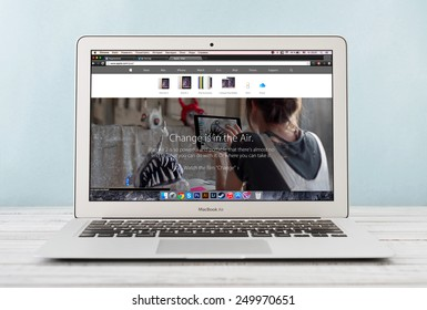 KIEV, UKRAINE - JANUARY 29, 2015: Brand new Apple MacBook Air Early 2014 with page presenting new iPad Air 2 on screen, designed and developed by Apple Inc., it was released on April 29, 2014