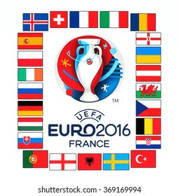 Kiev, Ukraine - January 29, 2016: Official logo of the 2016 UEFA European Championship in France with flags of the countries participants printed on white paper