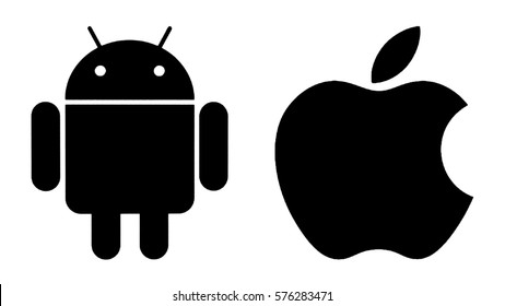 Kiev, Ukraine - January 29, 2017: Popular operating system logos printed on paper: Android and Apple.  Android - the operating system. Apple is an American corporation, that develops