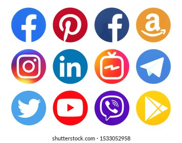Kiev, Ukraine - JOctober 04, 2019: Collection of popular social media circle logos printed on paper: Facebook, Viber, Instagram, Linkedin, Twitter, Pinterest, YouTube and other