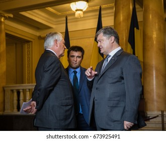 KIEV, UKRAINE - Jul 09, 2017: President of Ukraine Petro Poroshenko and United States Secretary of State Rex Tillerson during a meeting in Kiev