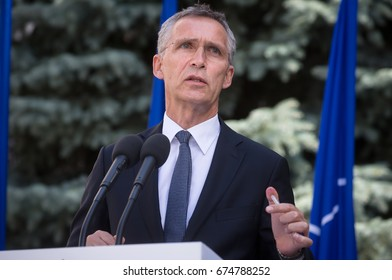 KIEV, UKRAINE - Jul 10, 2017: NATO Secretary General Jens Stoltenberg during his official visit to Kiev and meeting with the president of Ukraine