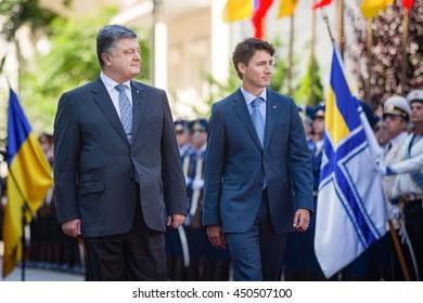 KIEV, UKRAINE - Jul 11, 2016: Meeting of Ukrainian President Petro Poroshenko with the Prime Minister of Canada Justin Trudeau in Kiev
