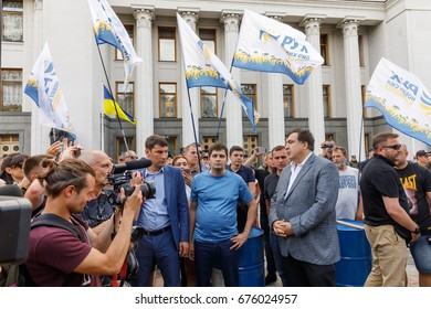 KIEV, UKRAINE - Jul 11, 2017: Meeting of supporters of the removal of parliamentary immunity near the walls of the Ukrainian parliament.Mikhail Saakashvili at a meeting against corruption