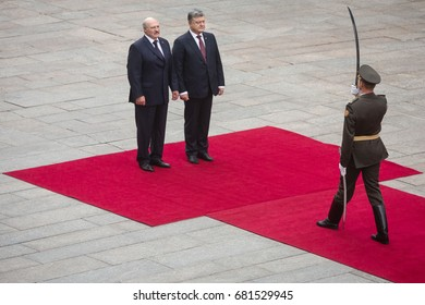 KIEV, UKRAINE - Jul 21, 2017: President of Ukraine Petro Poroshenko and President of Belarus Alexander Lukashenko during an official ceremony of meeting in Kiev