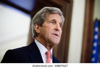 KIEV, UKRAINE - Jul 7, 2016: US Secretary of State John Kerry during a joint press conference with President of Ukraine Petro Poroshenko in Kiev
