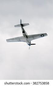 Kiev, Ukraine -  July 04, 2013. World War II era P-51D Mustang fighter plane