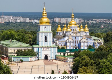 KIEV, UKRAINE - JULY 05, 2015: St. Michael's Golden-Domed Monastery in Kiev, Ukraine on July 05, 2015. View from Bell tower of the Saint Sophia Cathedral