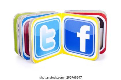 KIEV, UKRAINE - JULY  05, 2015: Book with popular social media  logos Facebook, Twitter.