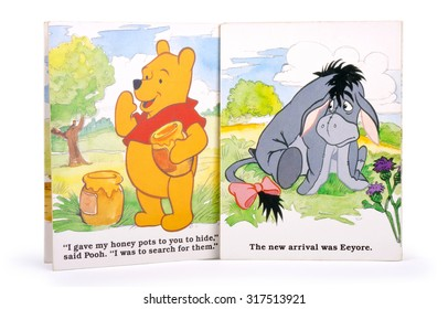 KIEV, UKRAINE - JULY 05, 2015:  Winnie-the-Pooh and Eeyore  is a character in the Winnie-the-Pooh books. Winnie-the-Pooh is a fictional anthropomorphic teddy bear.