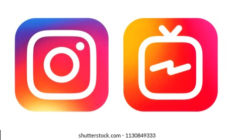 Kiev, Ukraine - July 07, 2018: Instagram icon and Instagram IGTV icon printed on white paper.