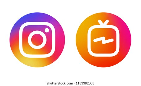 Kiev, Ukraine - July 07, 2018: Popular social media: Instagram icon and Instagram IGTV icon printed on white paper.