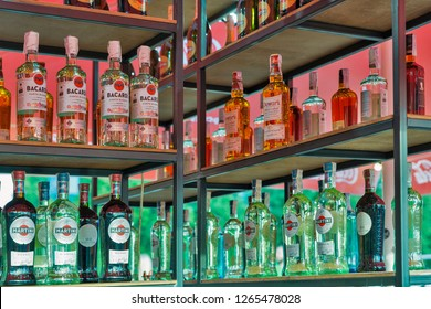 KIEV, UKRAINE - JULY 07, 2018: Bacardi outdoor bar at the Atlas Weekend Festival in National Expocenter. Bacardi is the largest family owned spirits company in the world.