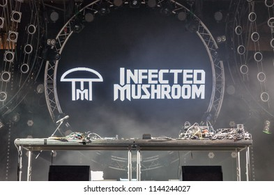 KIEV, UKRAINE - JULY 08, 2018: Infected Mushroom, an Israeli psytrance, electronica, and psychedelic music duo DJ console at the Atlas Weekend Festival in National Expocenter.