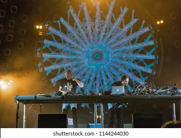 KIEV, UKRAINE - JULY 08, 2018: Infected Mushroom, an Israeli psytrance, electronica, and psychedelic music duo performs live at the Atlas Weekend Festival in National Expocenter.