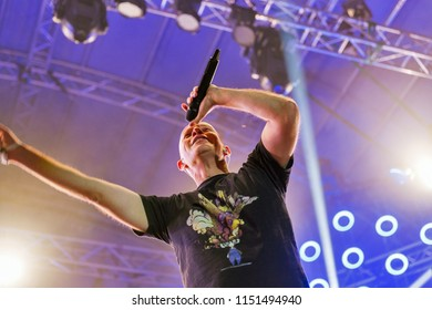 KIEV, UKRAINE - JULY 08, 2018: Amit Duvdevani of Infected Mushroom, an Israeli psytrance, electronica, and psychedelic music duo performs live at the Atlas Weekend Festival in National Expocenter.