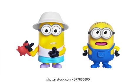 Kiev, Ukraine - July 10, 2017: Minions toys isolated on white. Minions is a character from Despicable Me 3, animated 3D film produced by Universal Pictures.