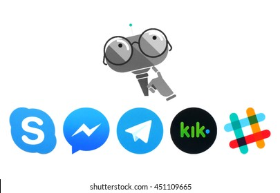 Kiev, Ukraine - July 11, 2016: Microsoft Murphy bot and Skype, Messanger, Telegram, Kik and Slack logos printed on white paper. Murphy is the robot with imagination, which is created by Microsoft