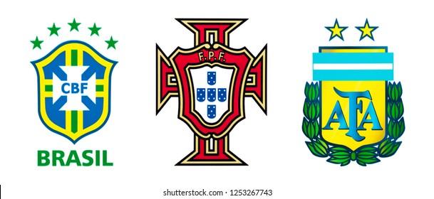 Kiev, Ukraine - July 11, 2018: Set of top nationals football team logos, Brazil, Portugal and Argentina.