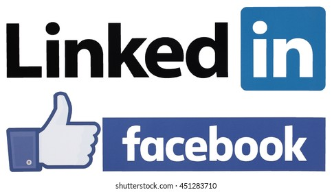 KIEV, UKRAINE - JULY 12, 2016: popular social media logos printed on paper:Facebook and LinkedIn