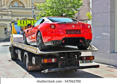 Kiev, Ukraine, July 13, 2015. Ferrari 599 Alonso Edition 60F1. Car on a tow truck. Editorial photo.