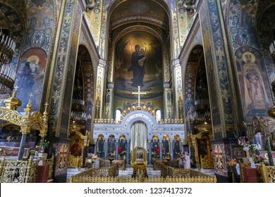 KIEV, UKRAINE - JULY 13, 2018: Inside of St Volodymyr's Cathedral in Kiev